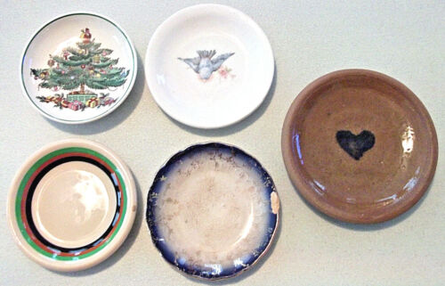 5 Vintage Assorted BUTTER PAT MINIATURE PLATES Spode Shenango Nystrom 2 Unsigned