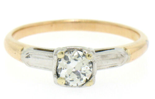 Vintage 14k Two Tone Gold G Vs2 European Cut Diamond Solitaire Engagement Ring