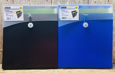 Set Of 2 Plastic 6 Pocket Expanding Vertical File Folders- Accordion Style
