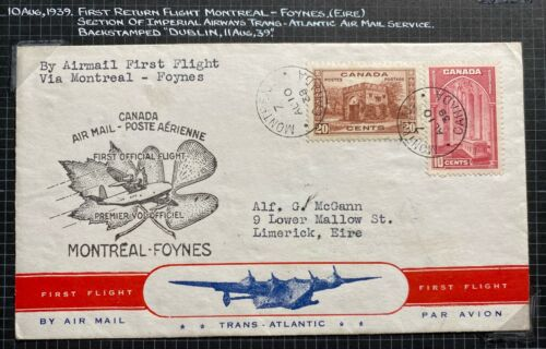 1939 Montreal Canada First Flight Airmail Cover FFC to Limerick Ireland Imperial