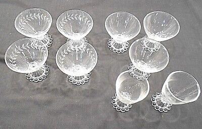 ANCHOR HOCKING BOOPIE, LOT OF 9 -  SEVEN DESSERT GLASSES, TWO APERTIF GLASSES,