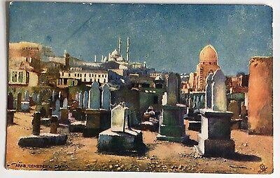 "Tuck's Oilette Picturesque Egypt Postcard Div Back ""Arab Cemetery, Cairo"""