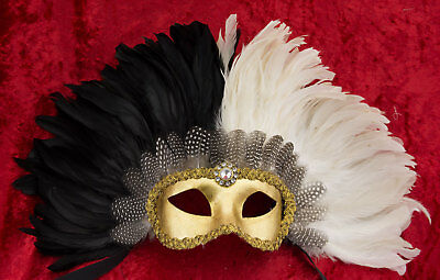 Mask Venetian Colombine Golden in Feathers White and Black Female Venice 22371