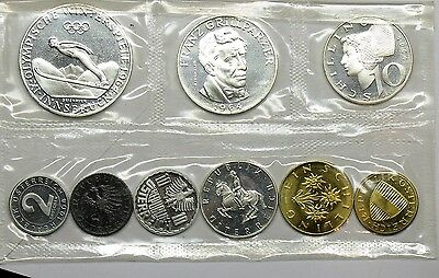 AUSTRIA 1964 SILVER 9 COIN (4 SILVER COINS) PROOF SET PS2
