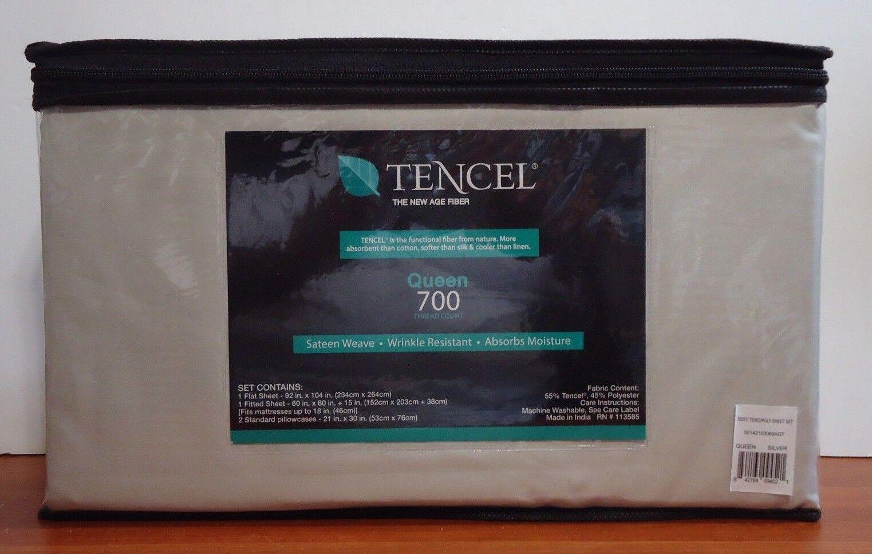 AQ Textiles 4-Pc Queen Sheet Set 700 Thread Count Tencel Blend Silver - $104.99