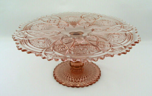"IMPERIAL GLASS OHIO - FASHION PINK  13"" ROUND CAKE STAND - HARD TO FIND - MARKED"