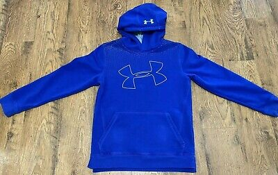 Under Armour Boys Girls Hoodie Sweatshirt Threadborne Cold Gear Blue Large