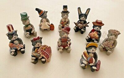 "Set of ten ""cat of the holiday / occasion"" series, resin, circa 1980."