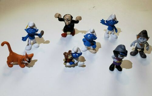 Vintage Smurfs Set Of 8 Schleich Peyo Figures Excellent Condition Gargamel