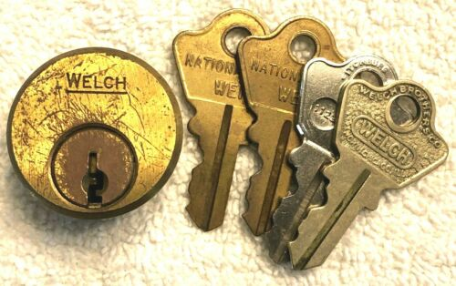 Vintage WELCH 3-Pin Lock Cylinders and 4 Keys - Locksmiths restore it properly