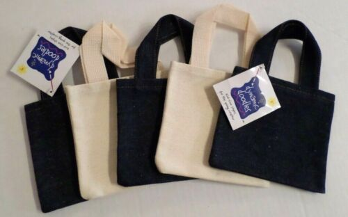 """Canvas & Denim Craft Bags Mixed Small Sizes Set of 5 Ivory/Navy 6""""x5.5"""" New"""