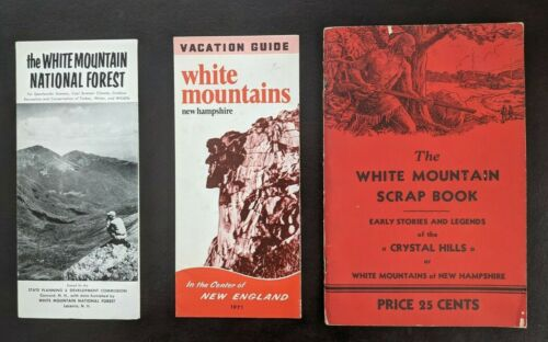 3 WHITE MOUNTAIN TOURIST BROCHURES 1939  Franconia Notch New Hampshire Old Man