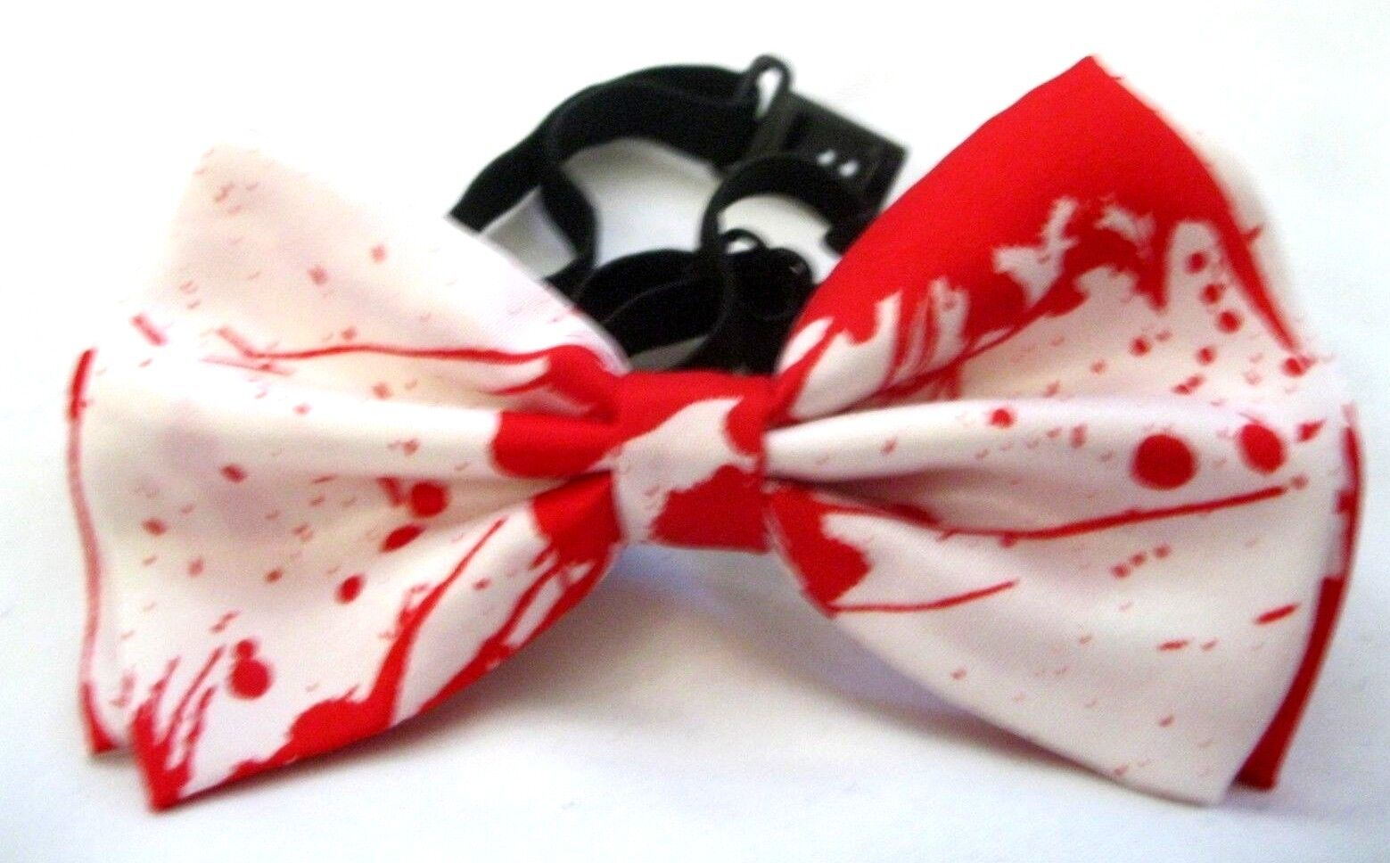 UNISEX BLOOD SPLATTERED WHITE RED PAINT BALL ADJ STRAP  BOW TIE BOW TIE-NEW!