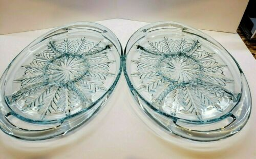 Vintage Jeannette Glass Large Divided Tray PAIR(2) Feather Pattern Ice Blue
