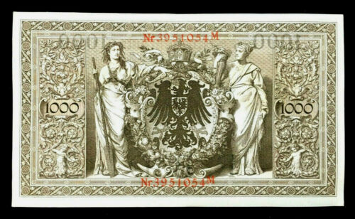 Authentic Historical 1910 Germany 1000 Mark Bank Note with RED SEAL - WWI Bill