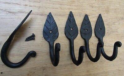 5 X LEAF HOOK  Iron hand forged blacksmith Single robe keys hanging hooks