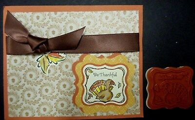 Stampin Up stamp BE THANKFUL pretty print & TURKEY & FLOATING LEAVES - Thankful Turkey Craft