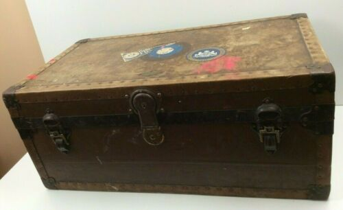 Vintage Rustic Large Henry Likly Steamer Trunk - Locked NO KEY Penn State Decals