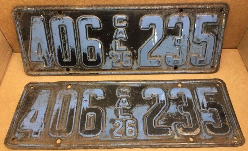 1926 DMV CLEAR RARE•PAIR (CALIFORNIA) 406-235   LICENSE PLATE-VINTAGE-ORIGINAL