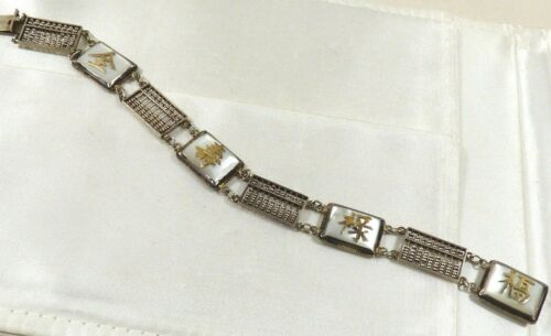Vintage made in Hong Kong Silver Real Abacus Mother of Pearl Link Bracelet