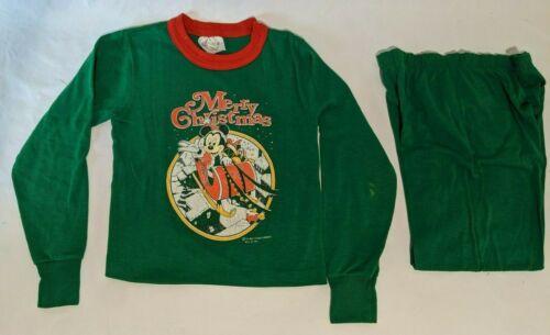 Vintage 1980s Disney Mickey Mouse Merry Christmas  Kids Pajama Set Kids Small