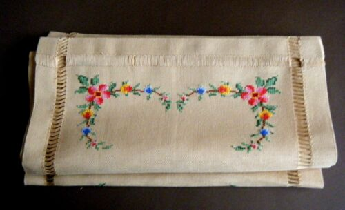 19c Vtg Topper Runner nouveau w H emb/red cross stitch floral design on linnen