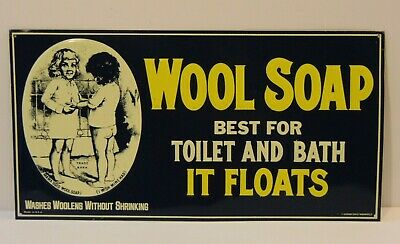 """15 1/2"""" VINTAGE 1980s WOOL SOAP GRAPHIC TIN METAL ADVERTISING SIGN MADE IN USA"""