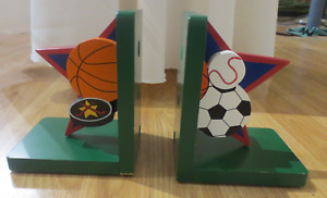 Wooden book ends - sport theme