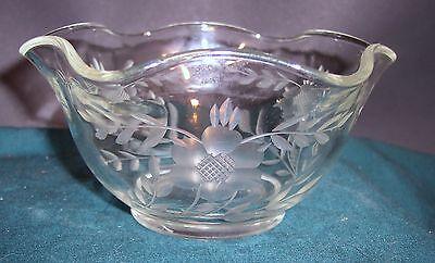 Vintage/ Depression Clear Glass Handcut Fruit Bowl