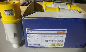 NEW-Gewiss-GW60012-GW-60-012-Protected-Inlet-Plug-32-amp-2P-E-110v-IP44
