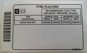 Holden-Commodore-20-Tyre-Placard-Label-Decal-VE-VY-VZ-SS-LS1-LS2-LS3-WL-L76-L98