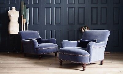 Pair of George Smith Jules Armchairs to be Reupholstered in velvet rrp £11,864