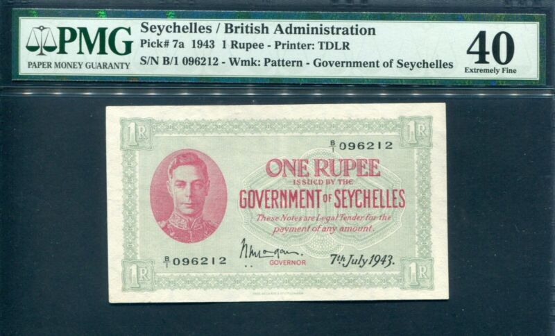 Seychelles 1943, King George VI 1 Rupee, P7a, PMG 40 EF
