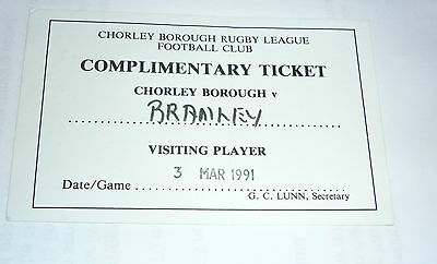 CHORLEY BOROUGH v BRAMLEY 3rd MARCH 1991 VISITING PLAYER TICKET