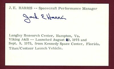 Jack E. Harris NASA Space Spacecraft Performance Manager Signed 3x5 Card E18321