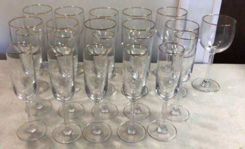Vintage Luminarc France 10 Champagne Flutes & 11 Wine Water Glasses Gold Trim
