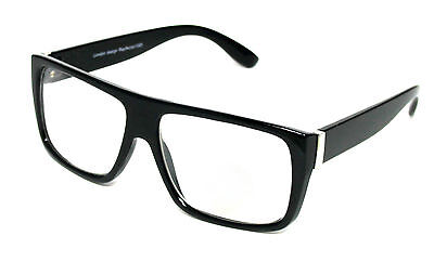 Rectangular Black & Silver Metal Frames Clear Lens Glasses Geek Nerd Style #1080