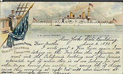 Official Souvenir Postcard World's Columbian Exhibition U.S. Naval Exhibit
