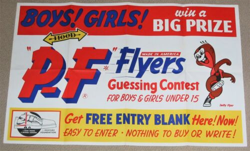"""1960s P.F FLYERS CONTEST TENNIS SHOE ADVERTISING POSTER """"SWIFTY"""" CARTOON MASCOT"""