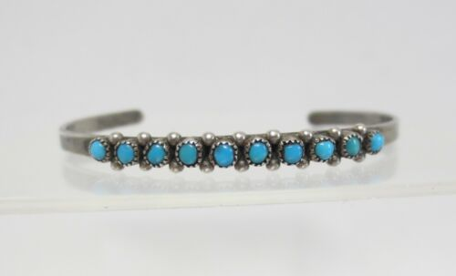 Vtg Sterling Silver Turquoise Navajo Child Baby Cuff Bracelet Snake Eye Petit Pt