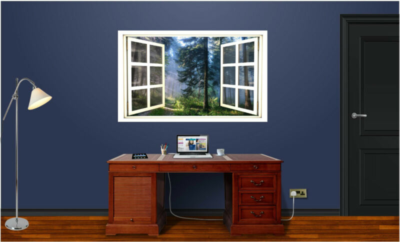 "48"" Window Scape Instant View Forest Trees #1 Wall Decal Art Graphic Sticker NEW"