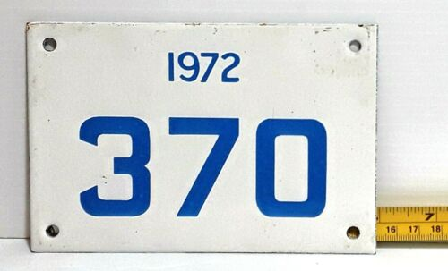 GRENADA - 1972 porcelain motorcycle license plate - VERY low registration  #s.