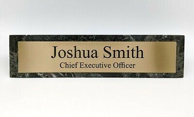 Genuine Green Marble Desk Wedge With Silver Or Gold Aluminum Name Plate