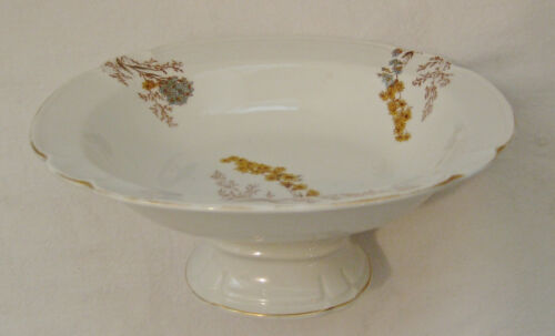 French Porcelain Footed Bowl - Hand Painted Wild Field Flowers - 19th Century