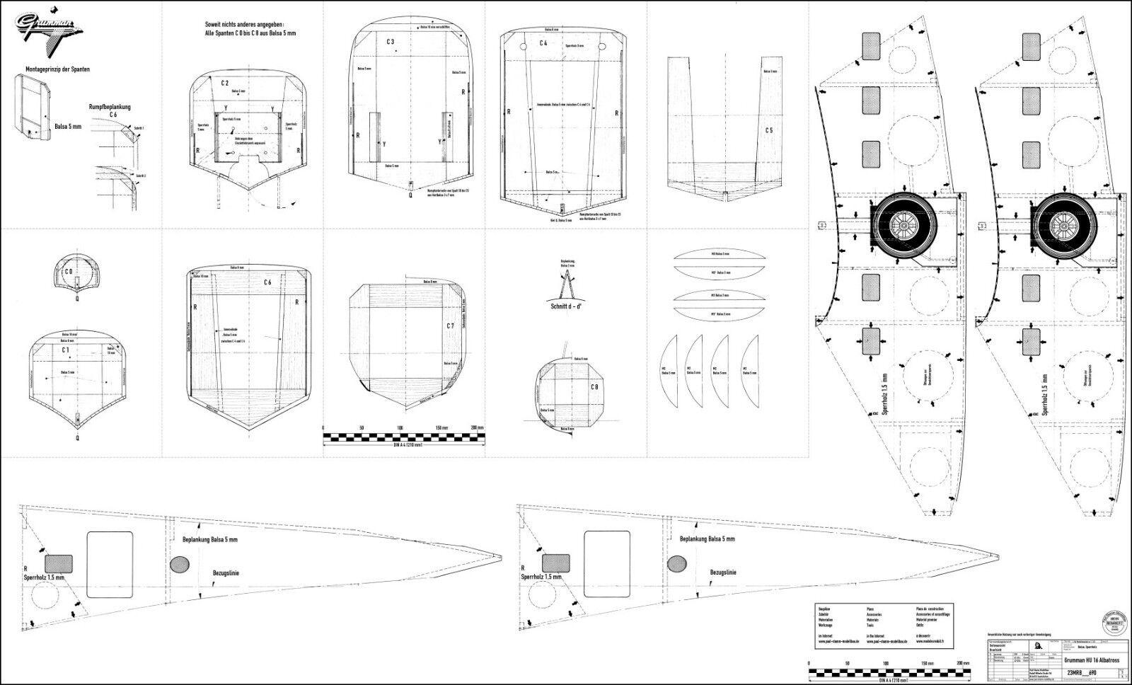 Wasserflugzeug Modellbauplan Amphibienflugzeug GRUMMAN HU-16 ALBATROSS