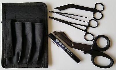 Full Black Tactical Medical Kit Diagnostic Emt Ems Paramedic Nursing Surgical