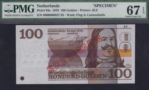 Netherlands 100 gulden 1970 SPECIMEN PMG67 EPQ, Pick 93s