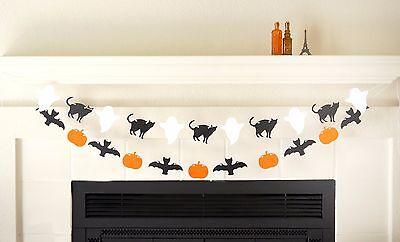 Halloween Banner Garland Black Cat Ghost Bat Pumpkin, Halloween Party Decor Prop - Halloween Garland Black