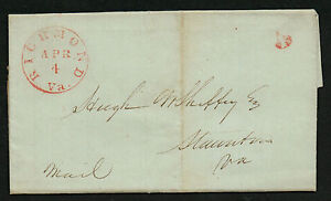 Richmond VA April 4, 1846 CDS Cancel on Stampless Cover Red H/S '5 ...