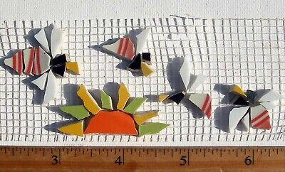 Small Bumble Bee & Sun Broken Cut China Mosaic Tiles
